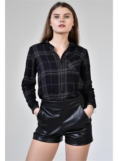 Rodi Jeans Kadın Çizgili Kol Katlamalı Gömlek DS21YB453639 Siyah